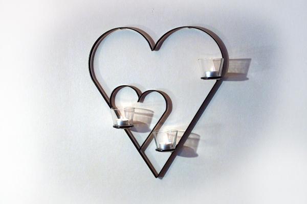 Väggljusstakar - Hjärta i hjärta med tre glas för värmeljus.